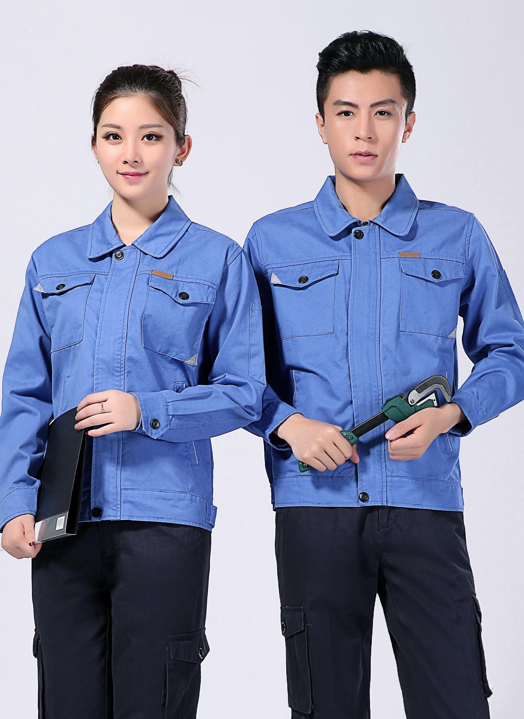 2021新款100%棉春秋季工作服男女长袖包边包缝工装 - 001A - 乐好英超