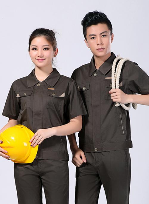 2021新款夏季男女工作服短袖涤棉铁灰色-108A - 乐好英超