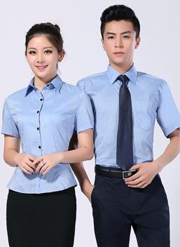 2021新款夏季男女商务工作服蓝短袖衬衣-317A-319B-乐好英超