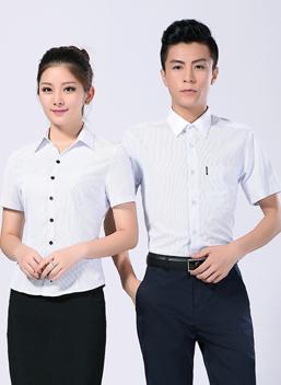 2021新款男女商务工作服短袖白色条纹衬衣-300A-301B-乐好英超