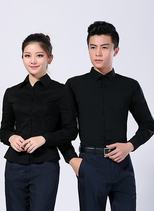 2020新款春秋男女商务长袖黑衬衣 - 213A - 乐好英超