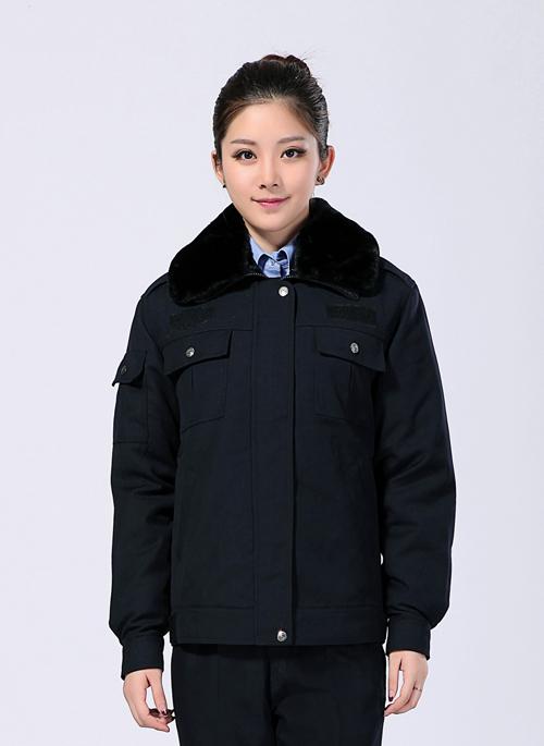 2019冬季男女制服工作服短款棉外套带毛领 -乐好英超