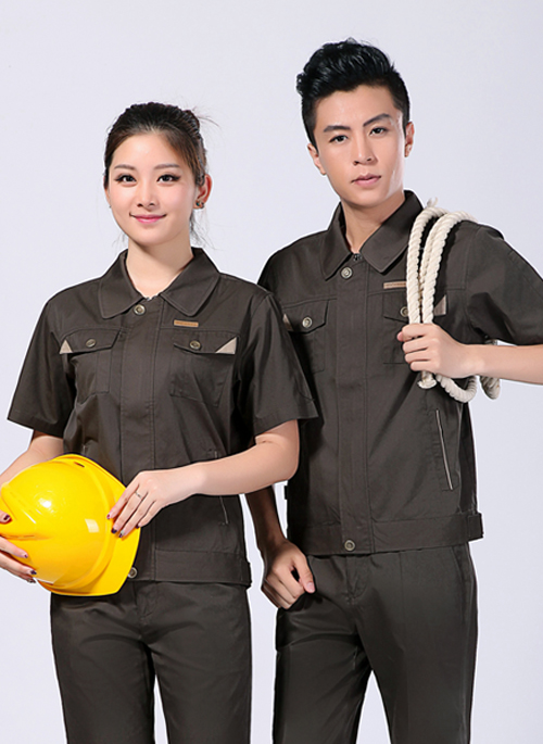 2019新款夏季男女工作服短袖涤棉铁灰色-108A - 乐好英超