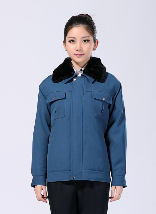 2020冬季短款制服棉外套带毛领工作服包边包缝 -503A - 乐好英超