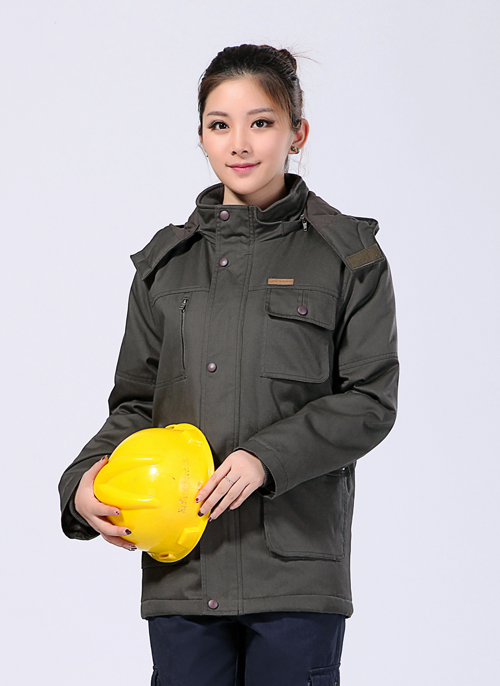 2020新款冬季棉衣铁灰防静电中长款工作服 -500A - 乐好英超