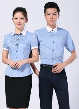 2020新款男女工作服短袖蓝色白领衬衣-316A-317B-乐好英超