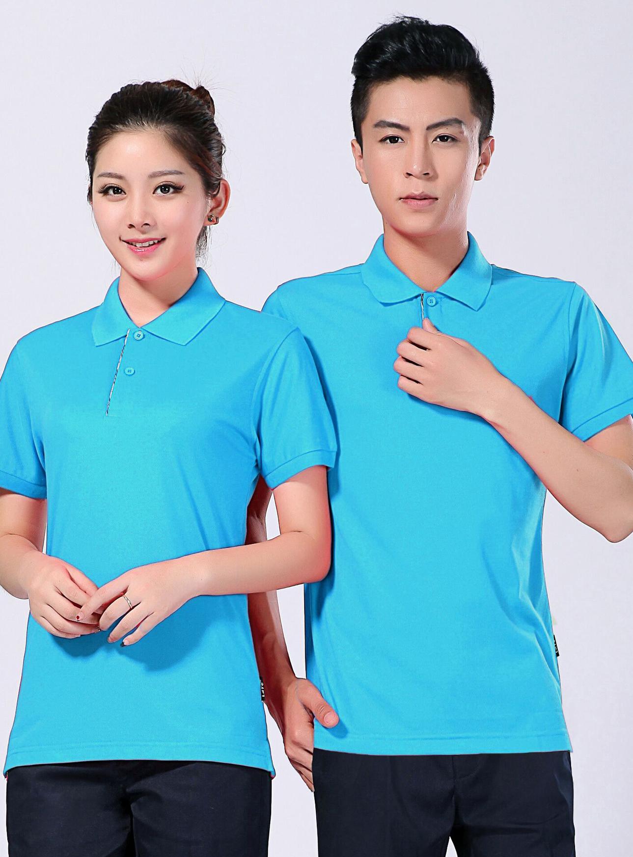 2021新款夏季工作服短袖T恤衫polo衫定做批发-浅蓝-乐好英超-615A