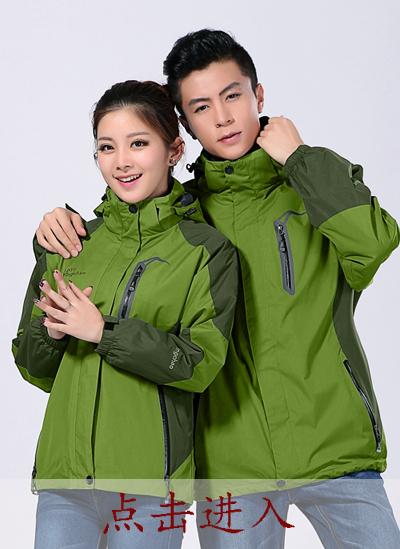 2020冬季新款男女户外防风抗水三合一 冲锋衣草绿色 - 553A - 乐好英超
