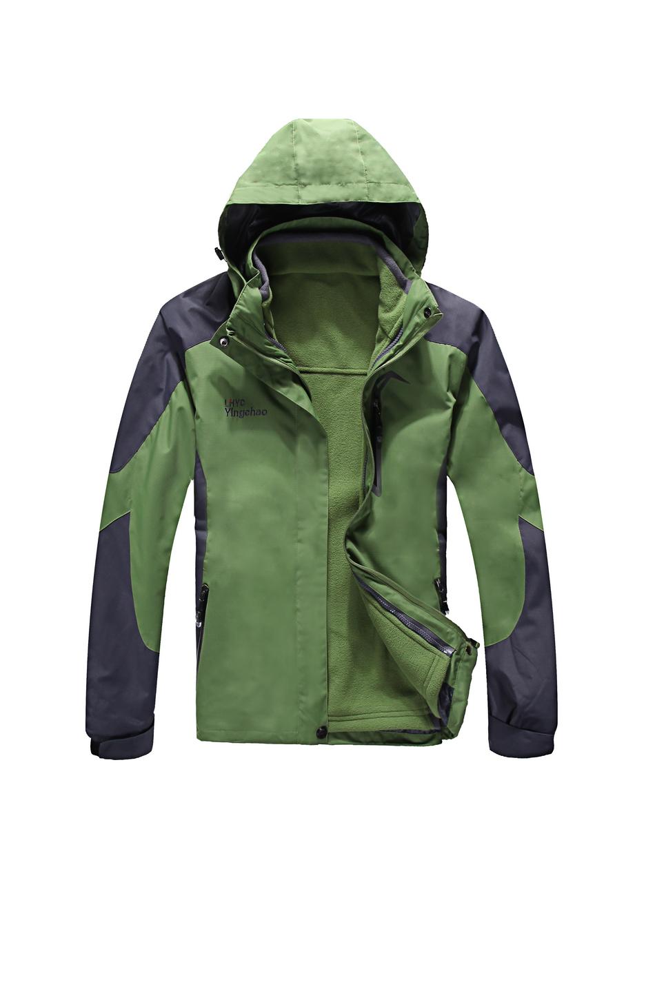 冬季保暖冲锋衣工作服男女加绒加厚户外情侣款防风防水--草绿色-乐好英超